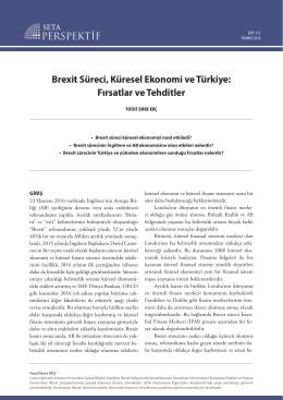 Brexit Sureci Kuresel Ekonomi ve Turkiye