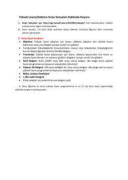 Yüksek Lisans/Doktora Sınav Sonuçları Hakkında Duyuru