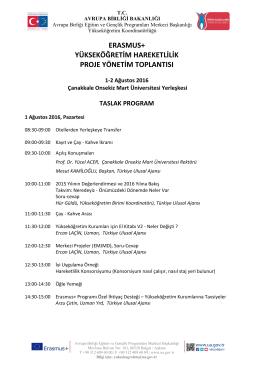 1-2 Ağustos 2016 Toplantı Programı