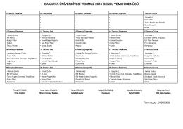 Yazdır - Sakarya Üniversitesi Genel Yemek Menüsü