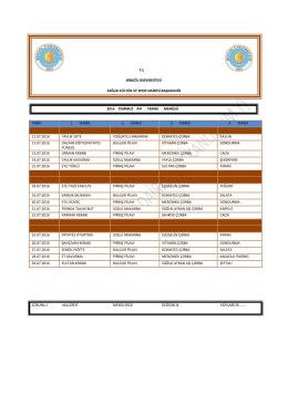 Yemek Listesi - Bingöl Üniversitesi