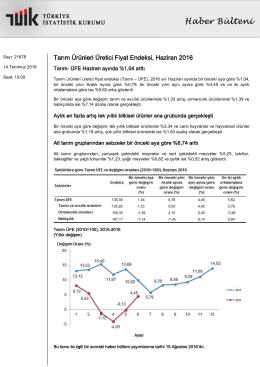 Tarım Ürünleri Üretici Fiyat Endeksi-(Haziran 2016