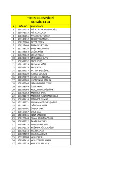 THRESHOLD SEVİYESİ DERSLİK: E1-31