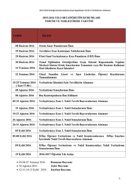 2015-2016 Temel Eğitimden Ortaöğretime Geçiş Takvimi ve