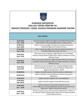 2016-2017 İngilizce Hazırlık Akademik Takvimi