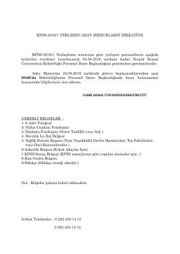 KPSS-2016/1 YERLEŞEN ADAY MEMURLARIN DİKKATİNE KPSS