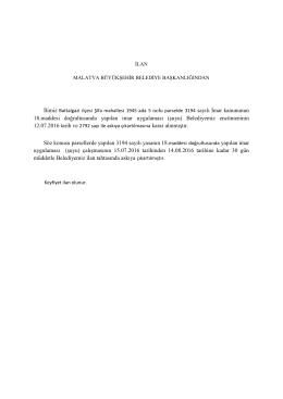 büyükşehir belediye başkanlığından duyurulur