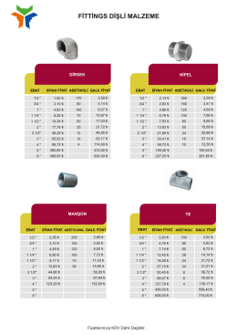 Dişli Fittings Fiyat Listesi