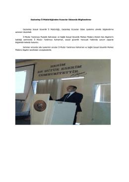 Gaziantep İl Müdürlüğünden Eczacılar Odasında