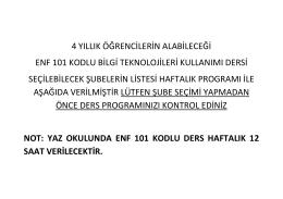 ENF101.BİLGİ TEKNOLOJİLERİ KULLANIMI