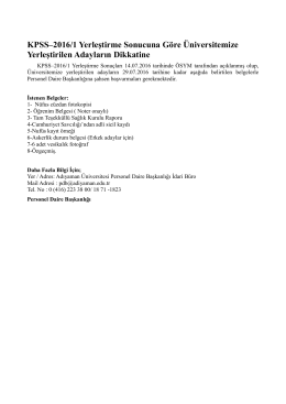 KPSS–2016/1 Yerleştirme Sonucuna Göre Üniversitemize