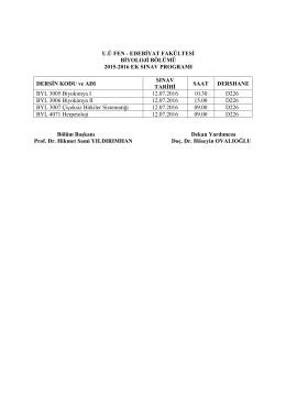 2015-2016 Ek Sınav Programı