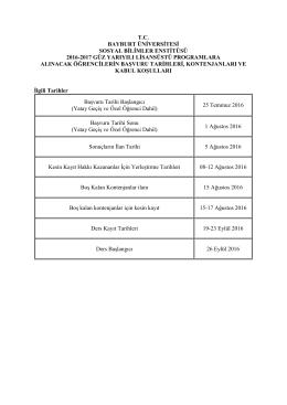 tc bayburt üniversitesi sosyal bilimler enstitüsü 2016