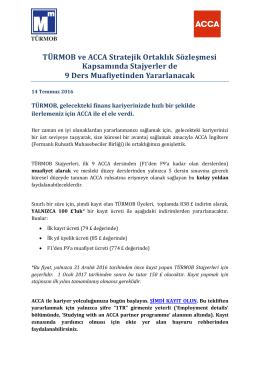 TÜRMOB ve ACCA Stratejik Ortaklık Sözleşmesi Kapsamında