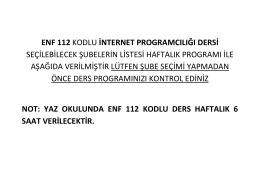 ENF112.İNTERNET PROGRAMCILIĞI