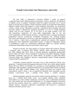 Projekt Univerzitní víno Masarykovy univerzity