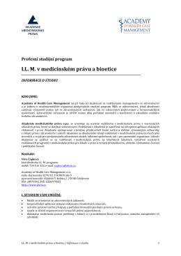 LL. M. v medicínském právu a bioetice