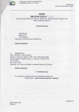 Smlouva o dílo Colas CZ, a.s