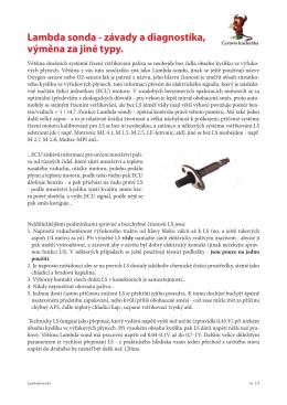 Lambda sonda - závady a diagnostika, výměna za jiné typy.