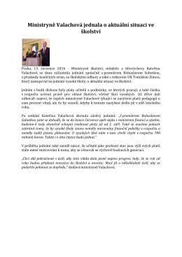 Ministryně Valachová jednala o aktuální situaci ve školství