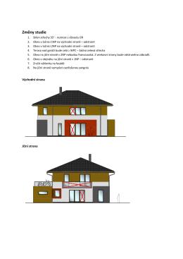 Změny v projektové dokumentaci oproti studii domu