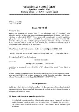 Rozhodnutí - stavební povolení ul. Sadová ve VÚ