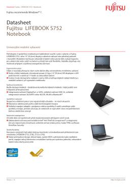 Datasheet Fujitsu LIFEBOOK S752 Notebook
