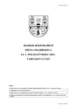 tabulková část - Město Pelhřimov