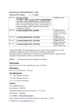 Adaptační týden - informace pro rodiče školáků(ček) 1. třídy