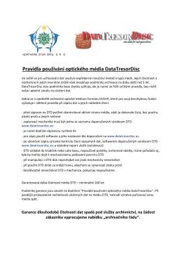 Pravidla používání optického média DataTresorDisc