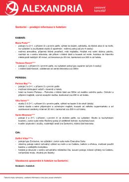 Santorini – prodejní informace k hotelům: