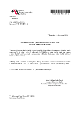 Oznámení o zrušení výběrového řízení na služební místo odborný rada