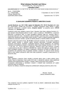 Oznámení o zahájení úzeního řízení - kopaná s