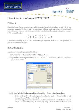 Párový t-test v softwaru STATISTICA