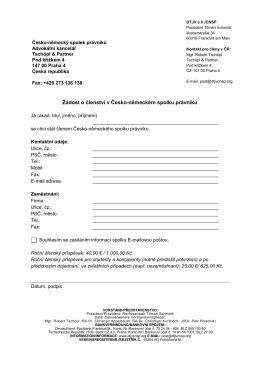 """DTJV N mecko-""""eské sdruzení právníku (Beitrittsantrag)"""