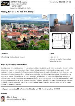 Prodej, byt 2+1, 41 m2, OV, Slaný