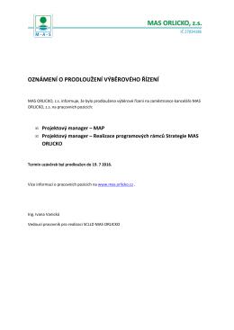 Prodloužení výběr. řízení MAS ORLICKO