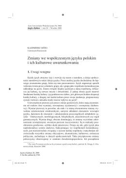 Zmiany we współczesnym języku polskim i ich