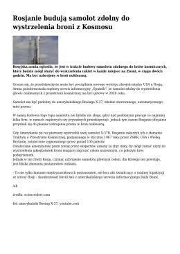Rosjanie budują samolot zdolny do wystrzelenia broni z Kosmosu