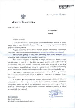 Pismo Ministra Środowiska dot. prac obserwacyjno