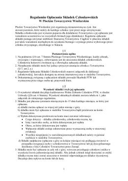 Regulamin Opłacania Składek Członkowskich