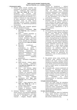 Ogólne warunki sprzedaży i świadczenia usług HOYA