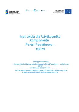 Instrukcja dla Użytkownika komponentu Portal Podatkowy