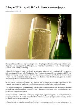 Polacy w 2015 r. wypili 18,5 mln litrów win musujących