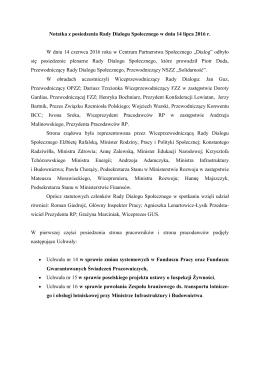 Notatka z posiedzenia Rady Dialogu Społecznego w dniu 14 lipca