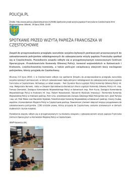 policja.pl spotkanie przed wizytą papieża franciszka w częstochowie