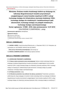 Warszawa: Budowa modelu kosztowego bottom-up