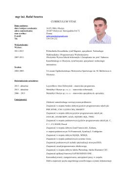 CV - Programista Informatyk Rafał Senetra