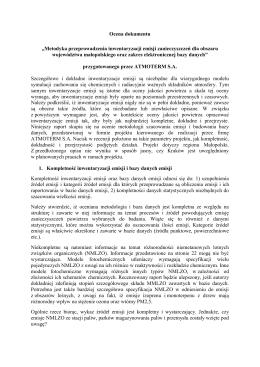 Opinia NILU Polska do projektu metodyki inwentaryzacji emisji