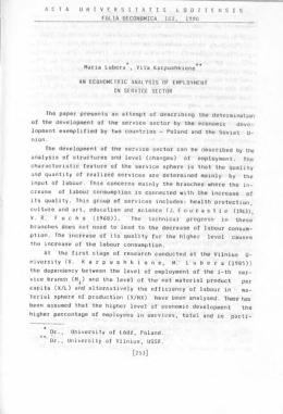 FOLIA OECONOMICA 102, 1990 Maria Lubera , Vita Karpushkiene